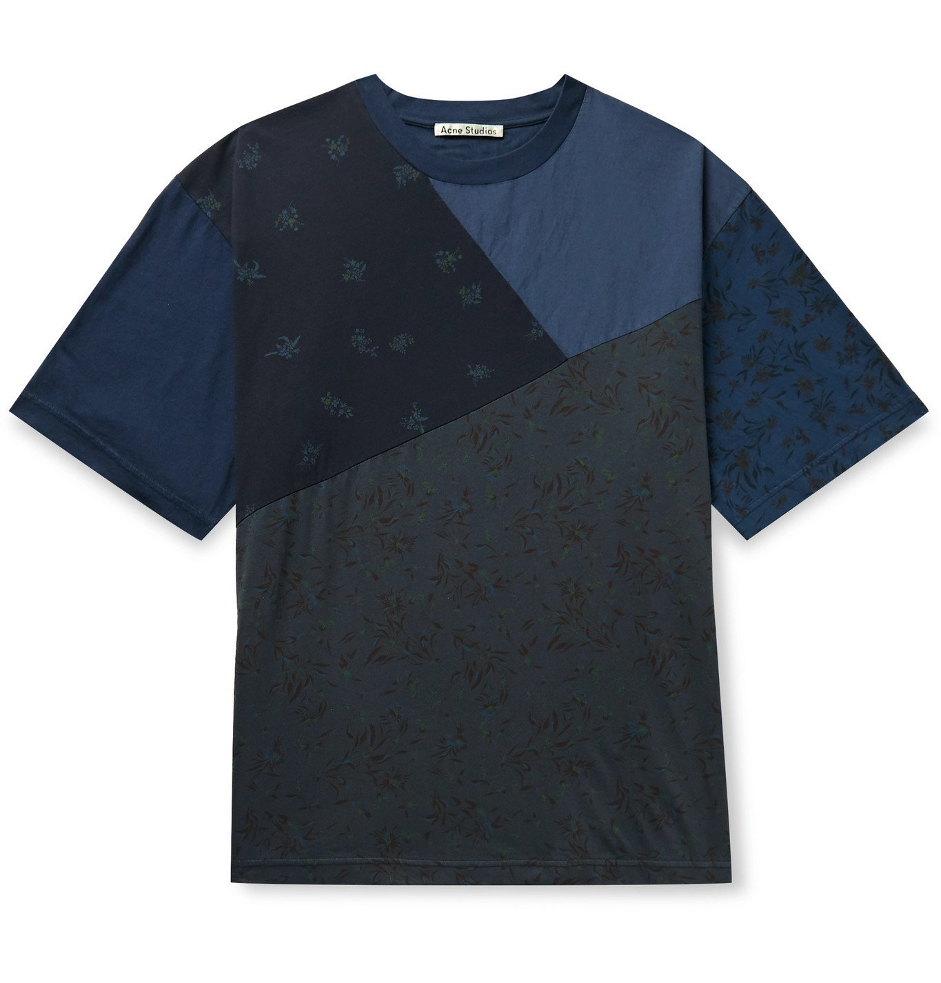 Acne Studios - Patchwork Printed Cotton-Jersey T-Shirt - Blue