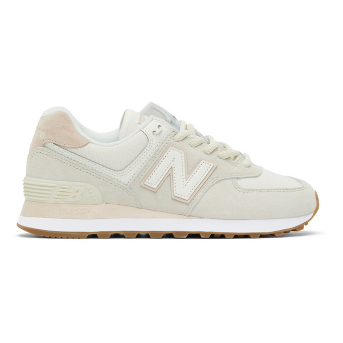 Photo: New Balance Off-White and Pink 574 Sneakers