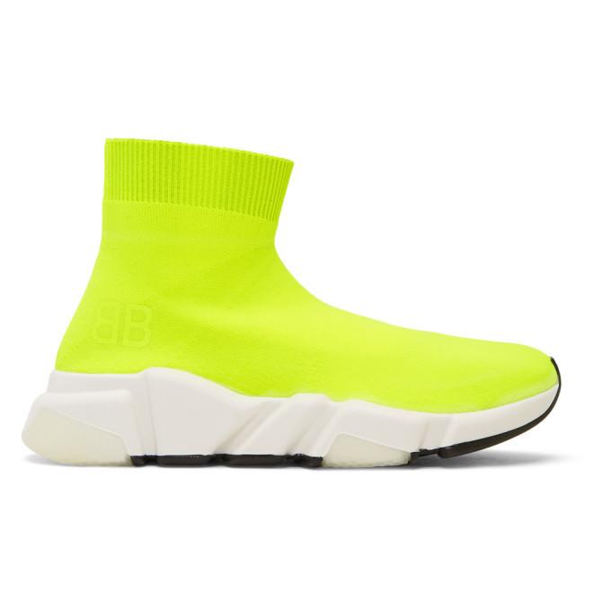 Photo: Balenciaga Yellow BB Speed High-Top Sneakers
