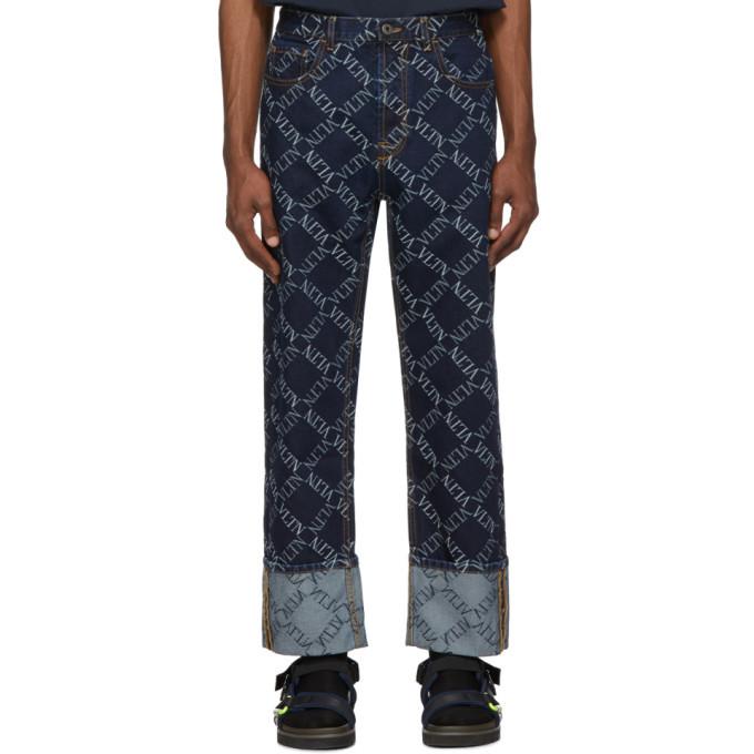 Photo: Valentino Blue Jacquard Logo Jeans