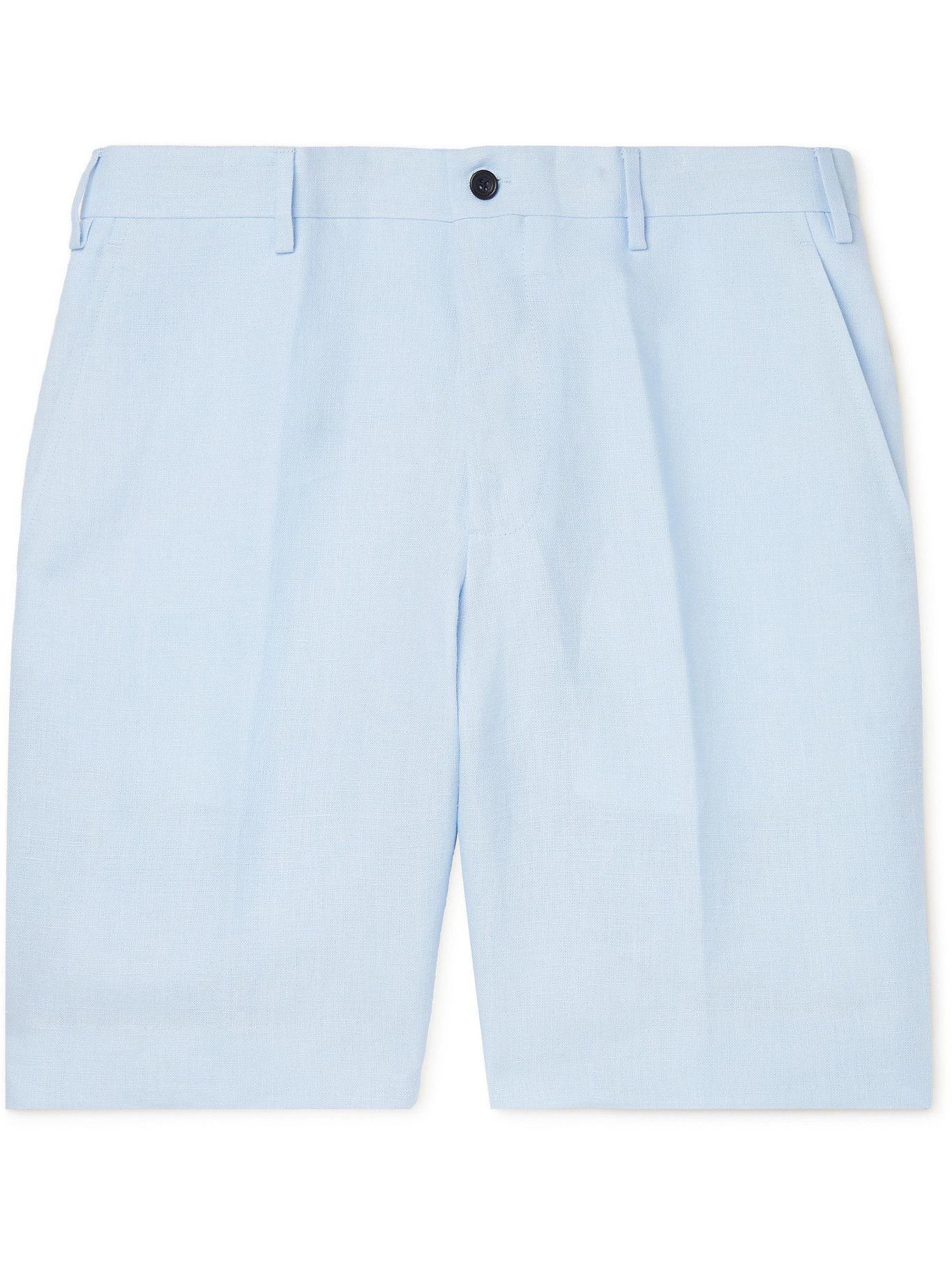 Photo: ANDERSON & SHEPPARD - Wide-Leg Linen Bermuda Shorts - Blue