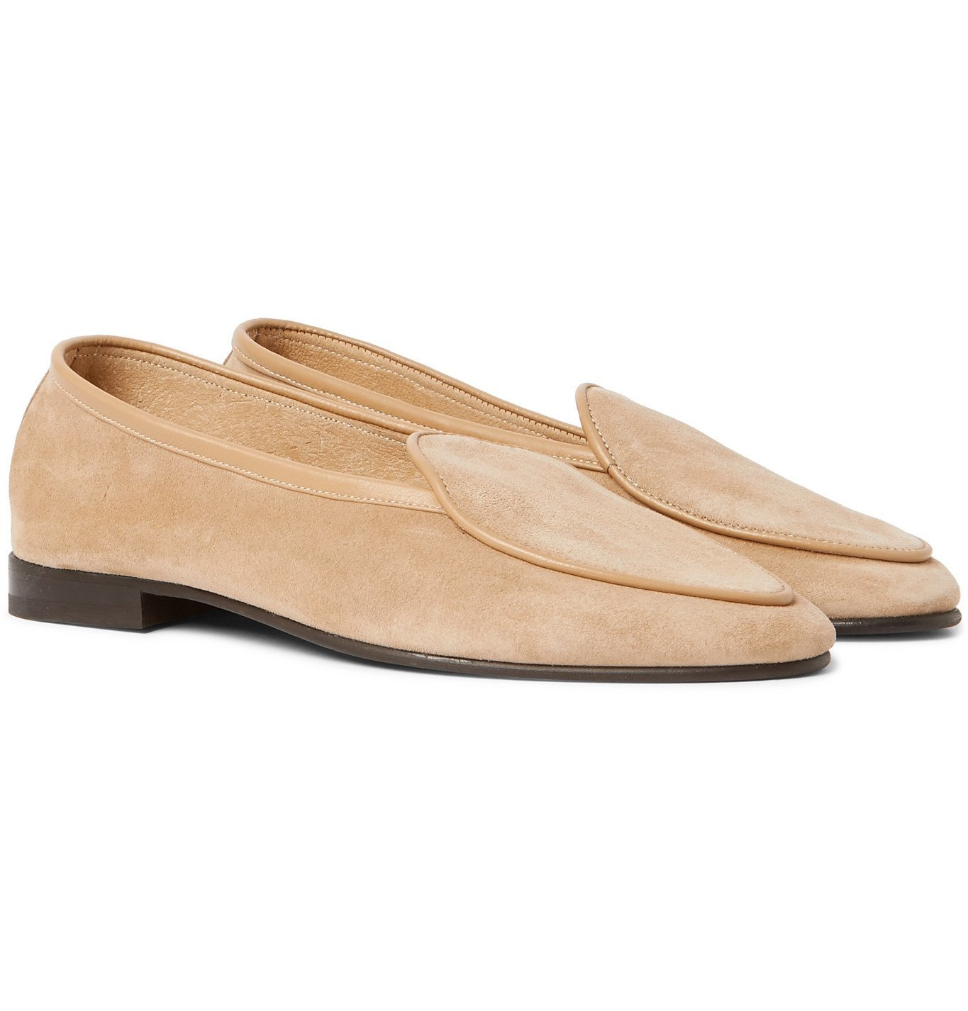 Photo: George Cleverley - Hampton Leather-Trimmed Suede Loafers - Neutrals