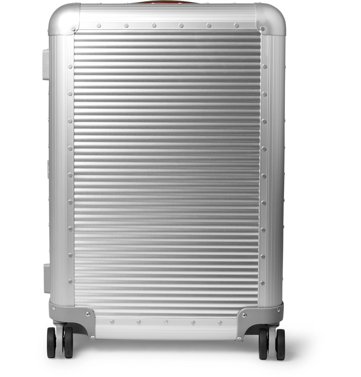 Photo: Fabbrica Pelletterie Milano - Spinner 68cm Leather-Trimmed Aluminium Suitcase - Silver