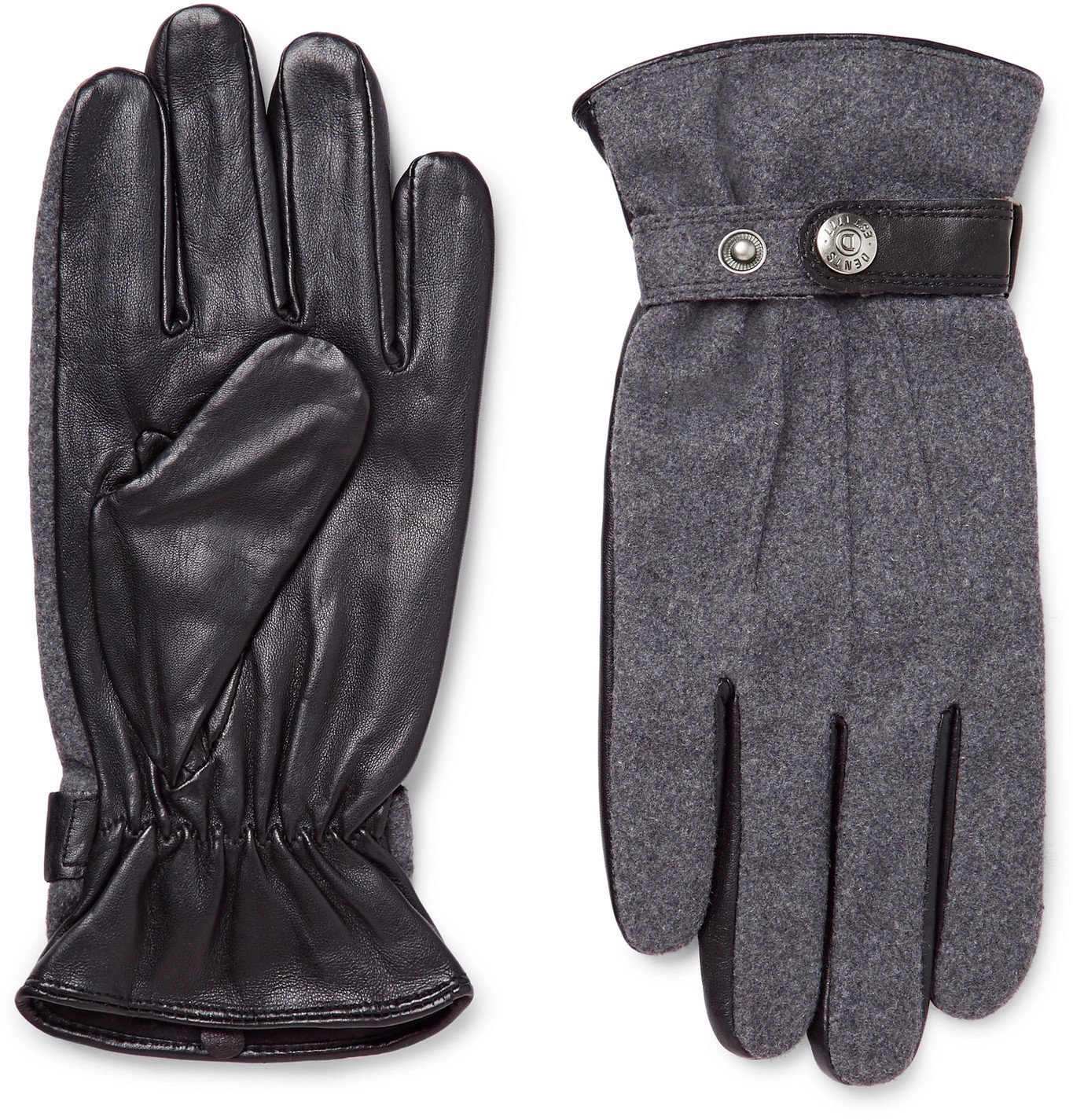 Photo: Dents - Guildford Mélange Flannel and Leather Gloves - Gray