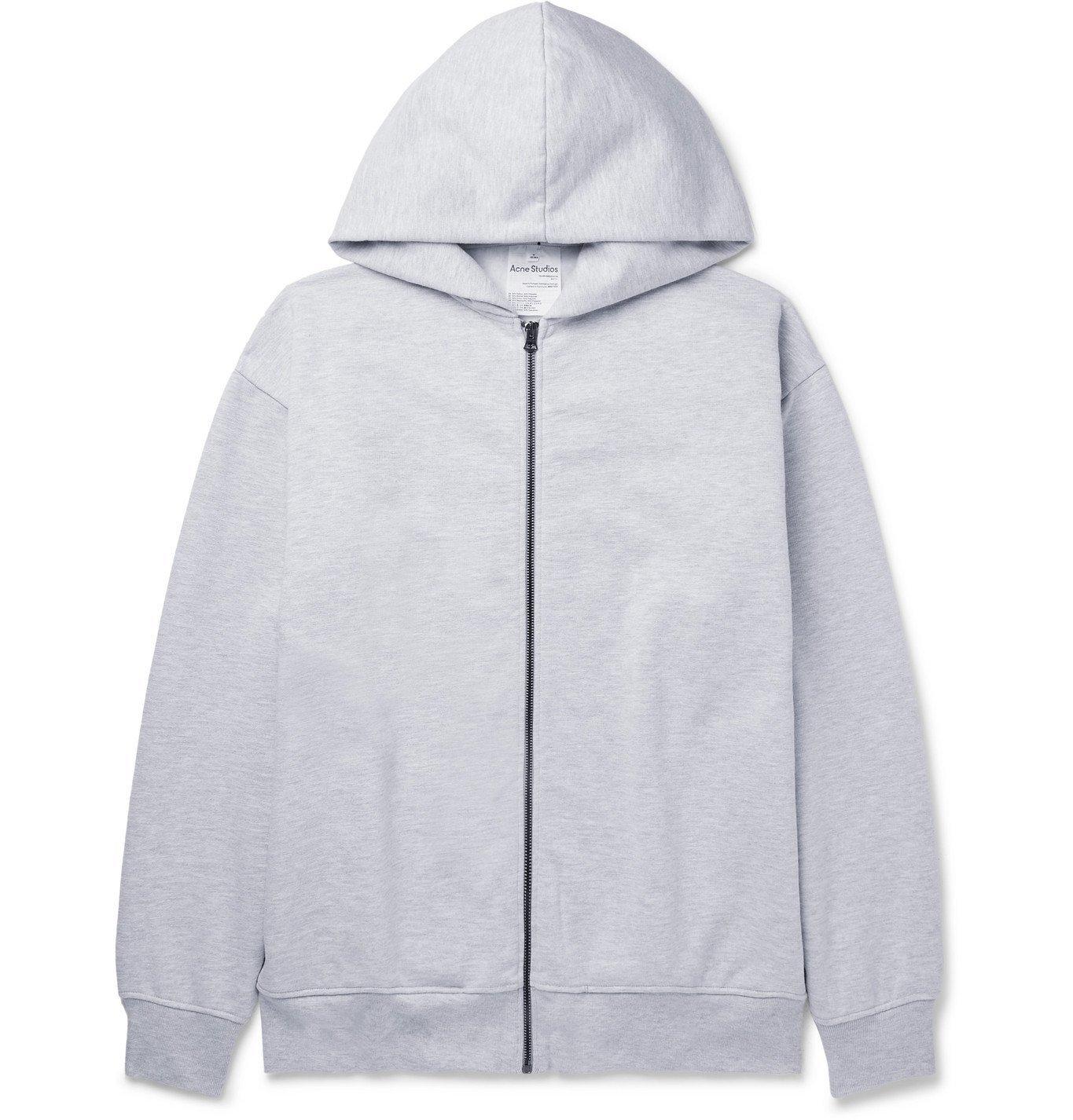 Photo: ACNE STUDIOS - Forban Mélange Fleece-Back Cotton-Blend Jersey Zip-Up Hoodie - Gray