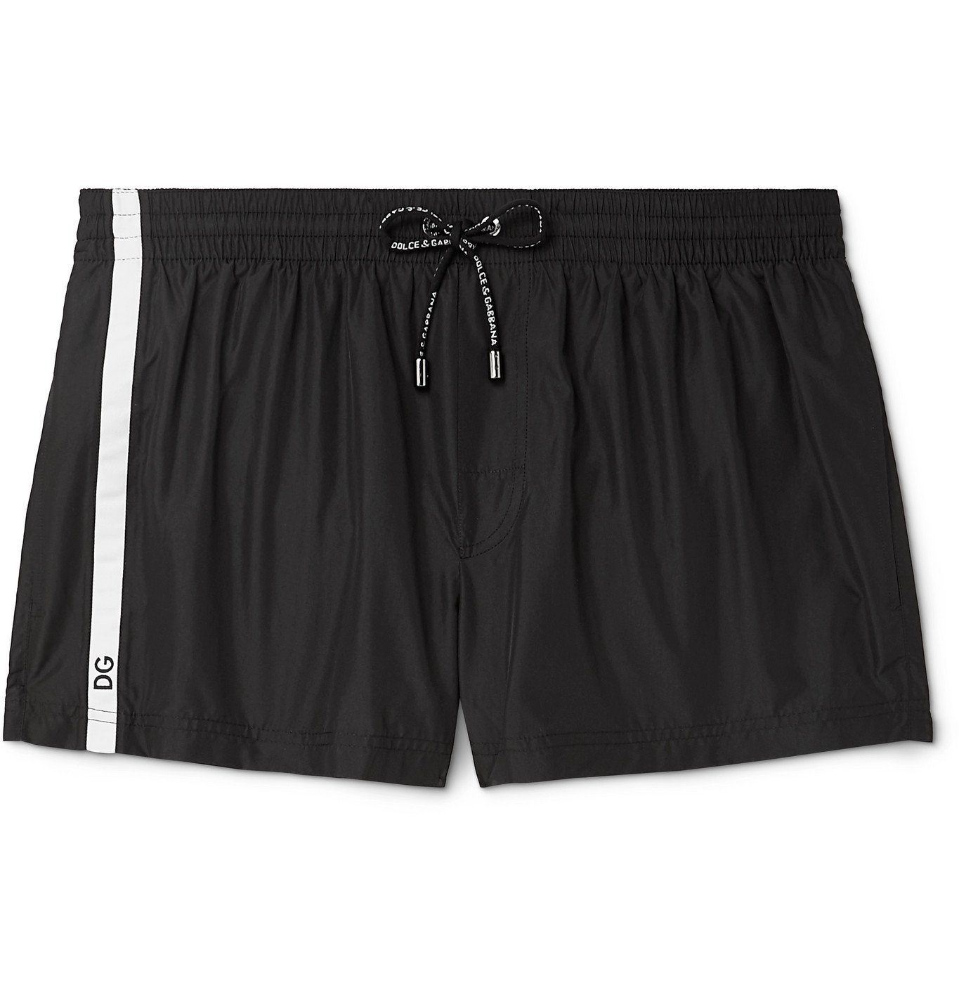 Photo: Dolce & Gabbana - Short-Length Striped Swim Shorts - Black