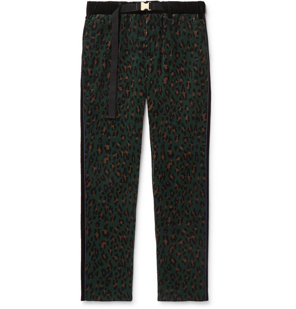 Sacai - Leopard-Print Cotton-Corduroy Trousers - Green