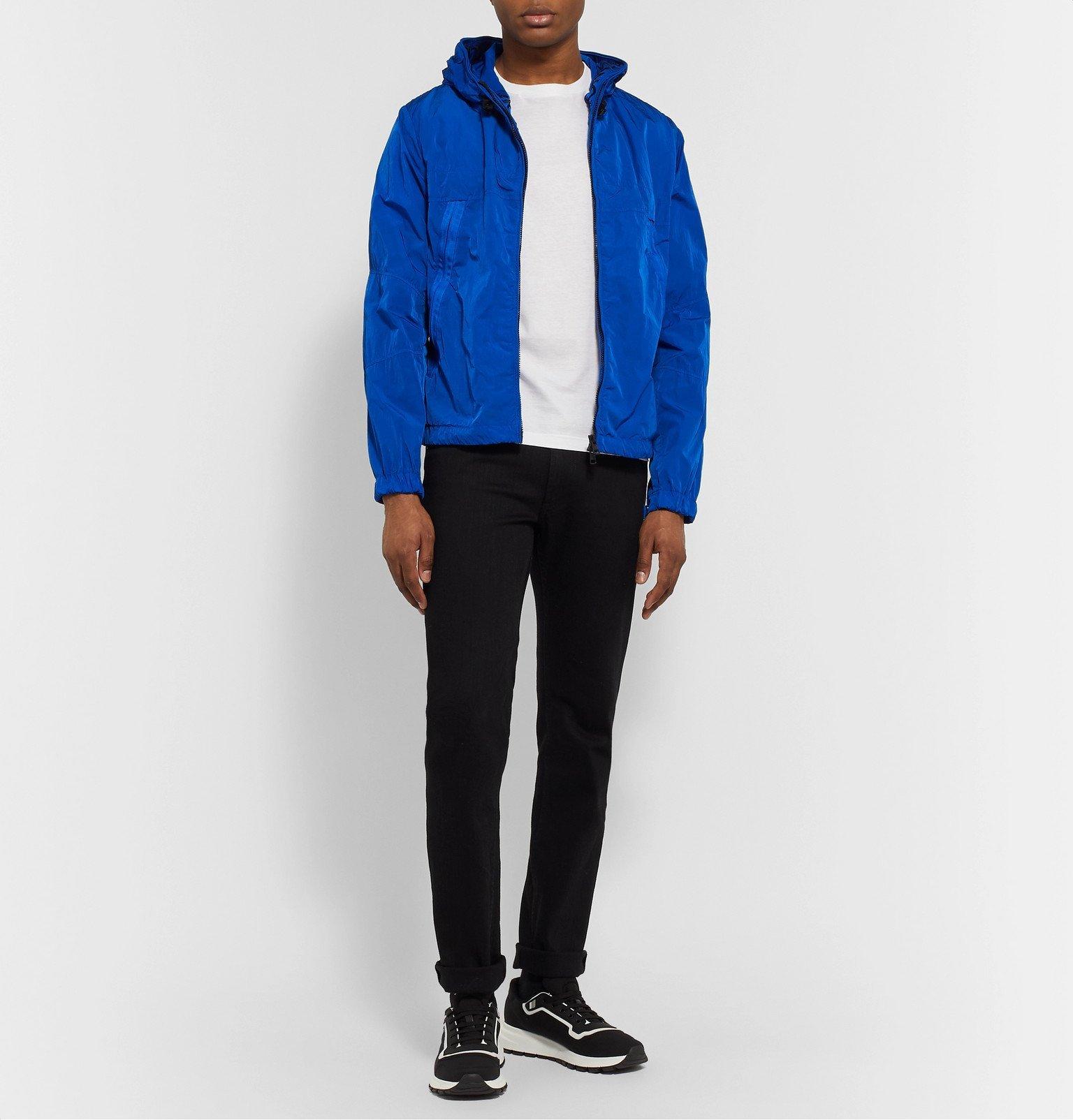Moncler - *Logo-Embroidered Grosgrain-Trimmed Shell Jacket - Blue