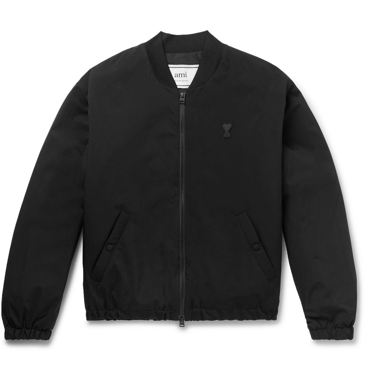 Photo: AMI - Slim-Fit Logo-Appliquéd Shell Bomber Jacket - Black