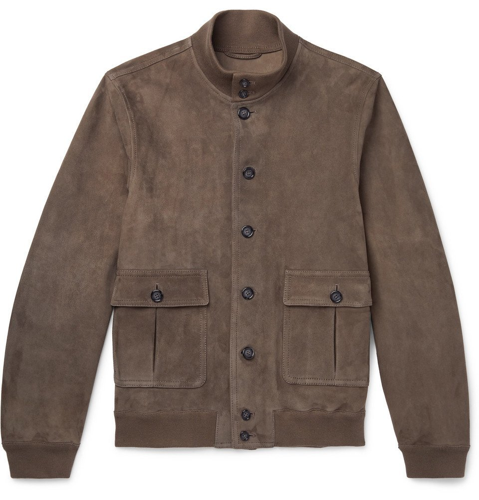 Photo: Valstar - Valstarino Slim-Fit Unlined Suede Bomber Jacket - Brown