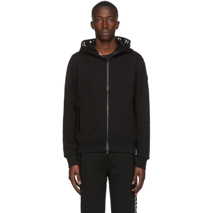 Photo: Moncler Black Embroidered Logo Hoodie
