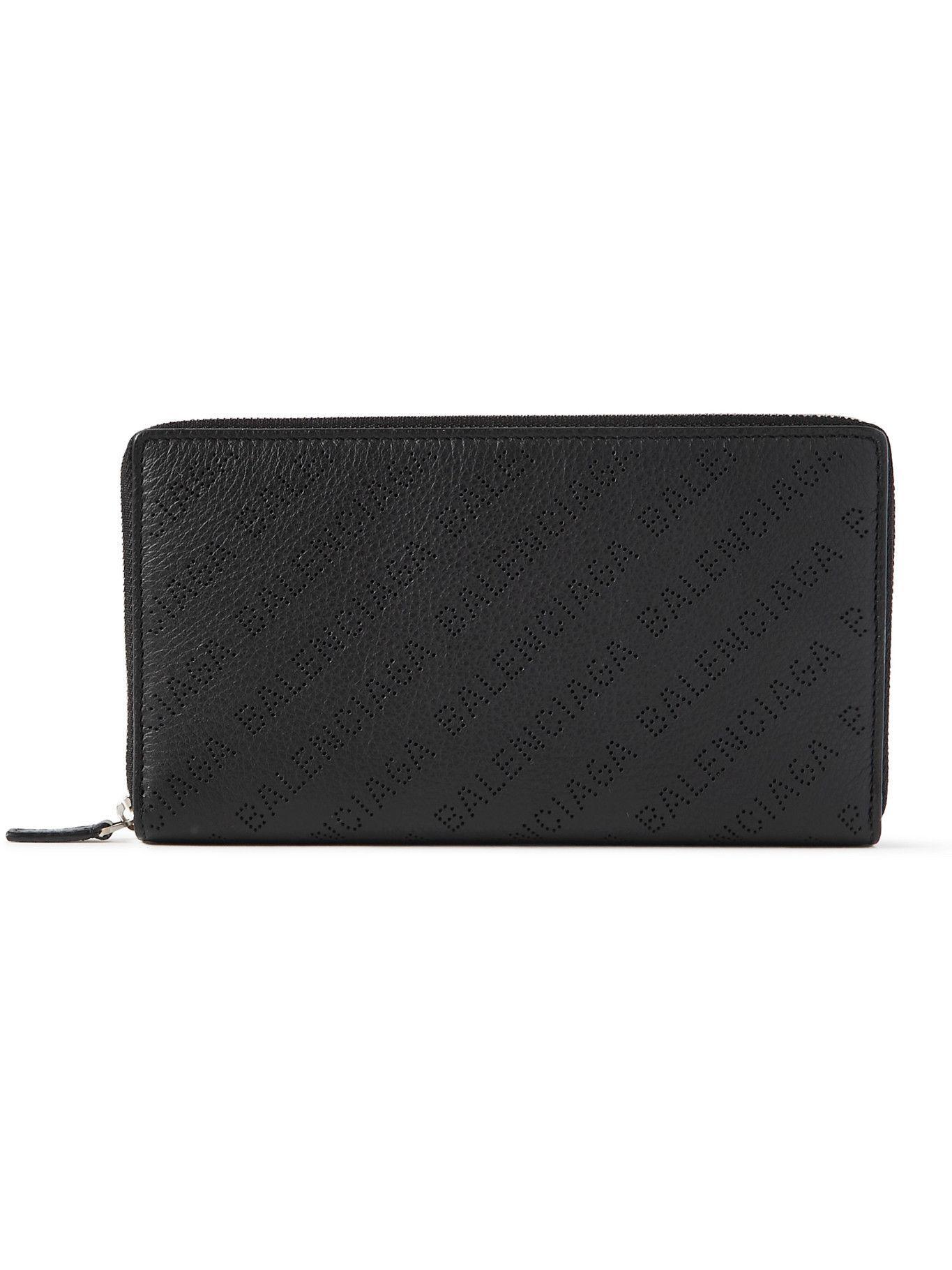 BALENCIAGA - Logo-Perforated Full-Grain Leather Zip-Around Wallet