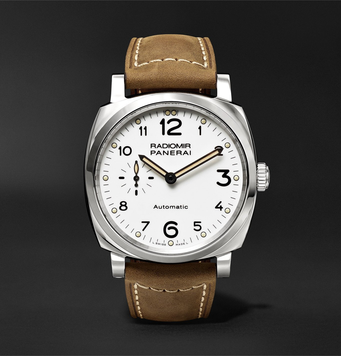 Photo: Panerai - Radiomir 1940 3 Days Automatic Acciaio 42mm Stainless Steel and Leather Watch, Ref. No. PAM00655 - White