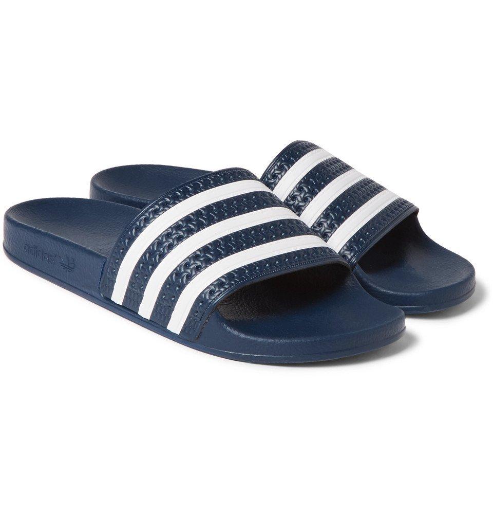 Photo: adidas Originals - Adilette Textured-Rubber Slides - Men - Storm blue