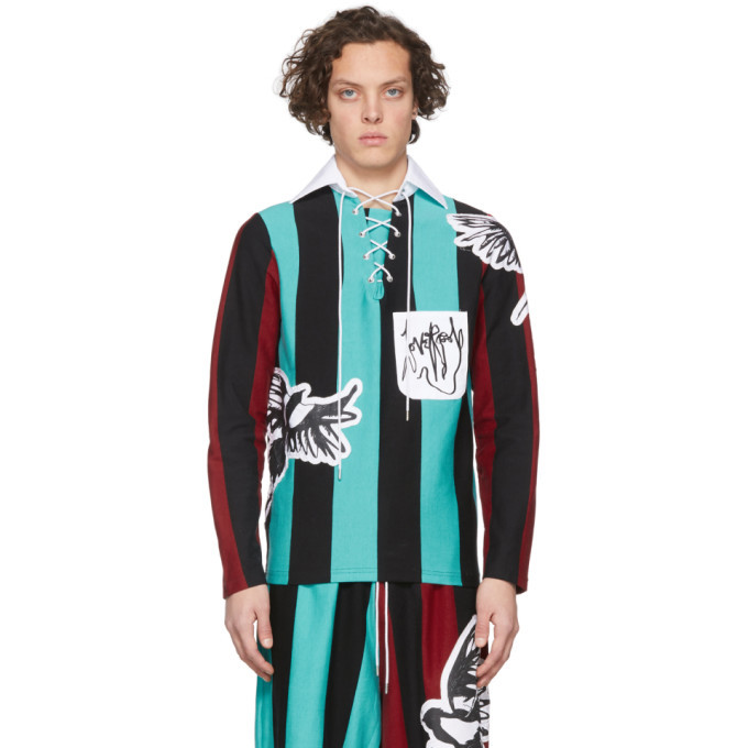 Photo: Charles Jeffrey Loverboy Blue and Black Magpie Stripe Rugby Polo