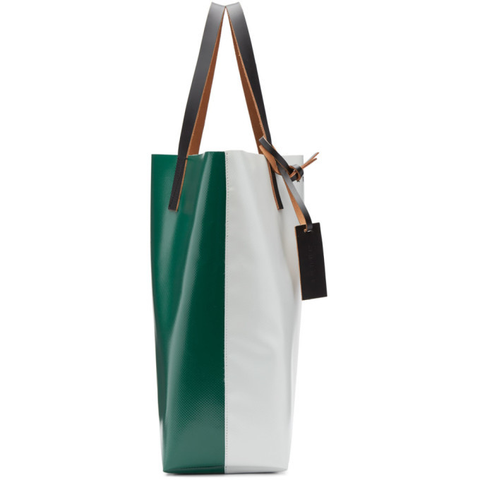 Marni Green and Off-White PVC Tote