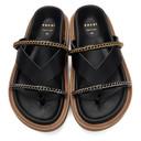 Sacai Black Leather Wedge Thong Sandals