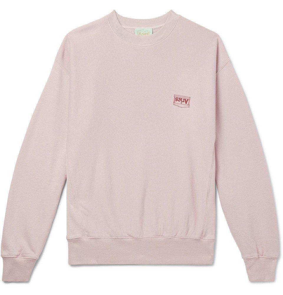 Aries - Logo-Print Organic Loopback Cotton-Jersey Sweatshirt - Men - Pink