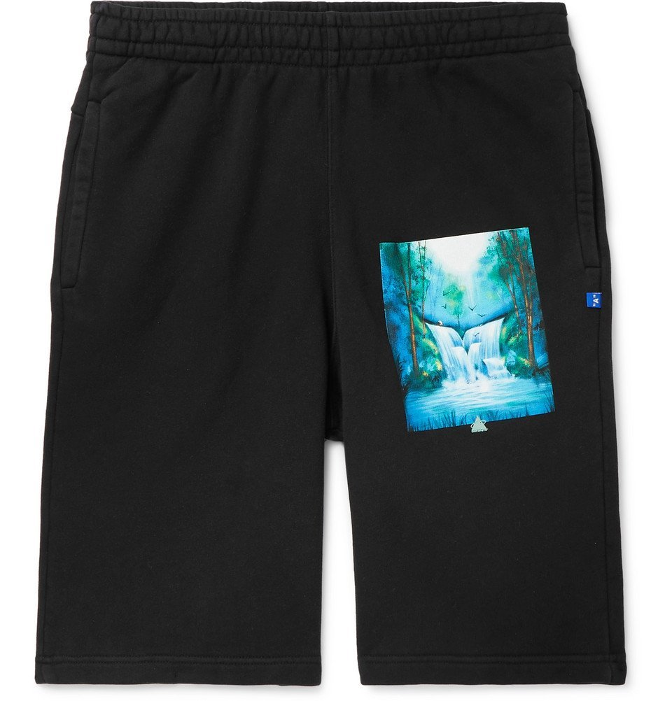 Photo: Off-White - Printed Loopback Cotton-Jersey Drawstring Shorts - Black
