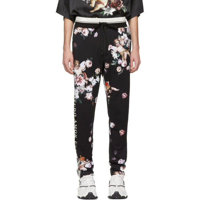 Photo: Dolce and Gabbana Black Floral Angels Lounge Pants