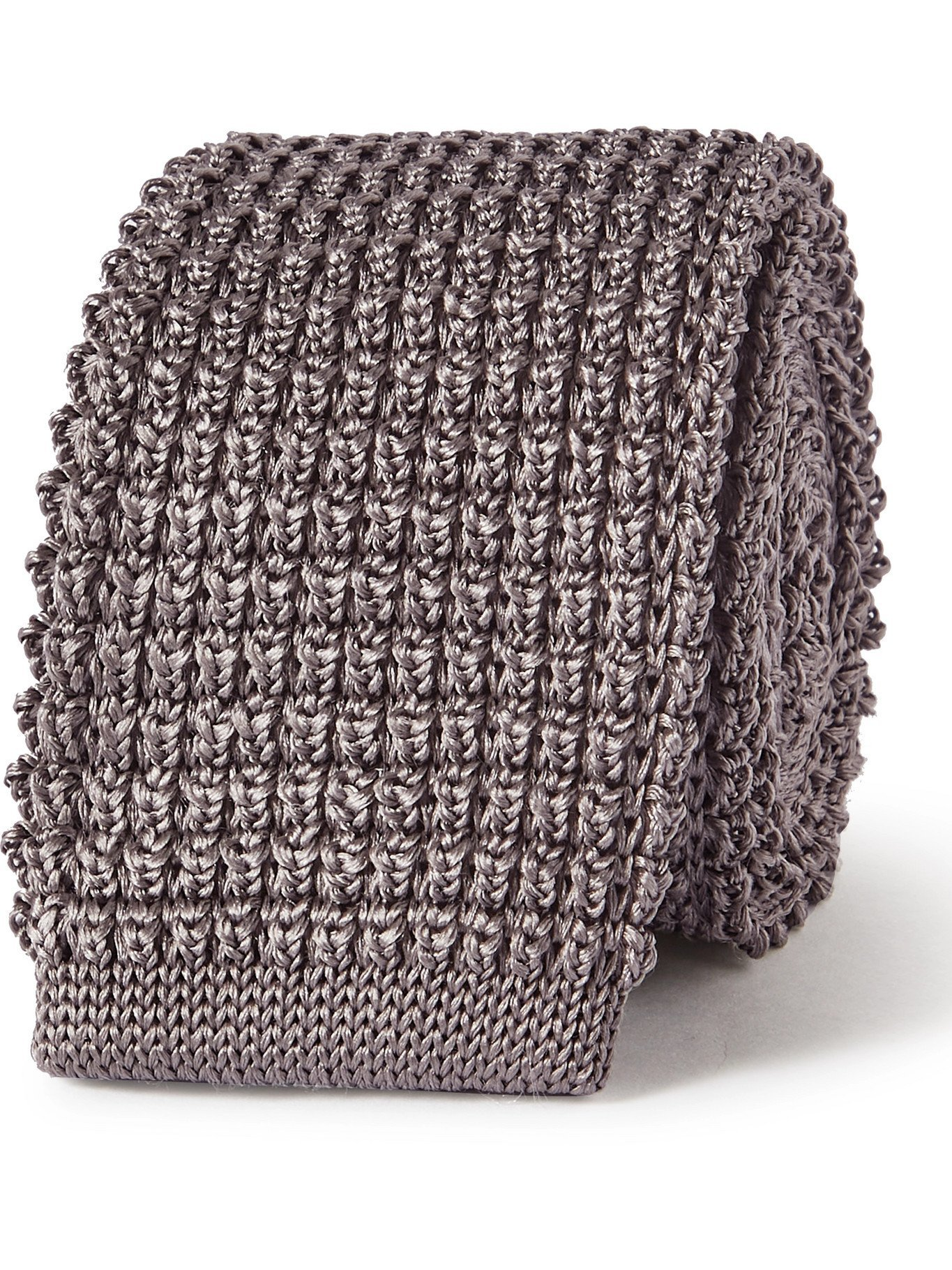 Photo: LANVIN - 5cm Knitted Silk Tie - Gray