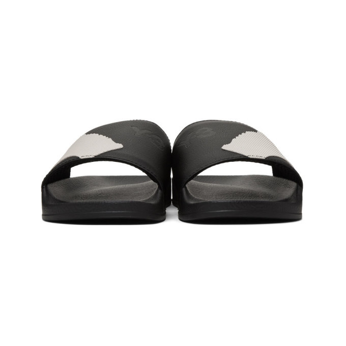 Y-3 Black and White Adilette Sandals