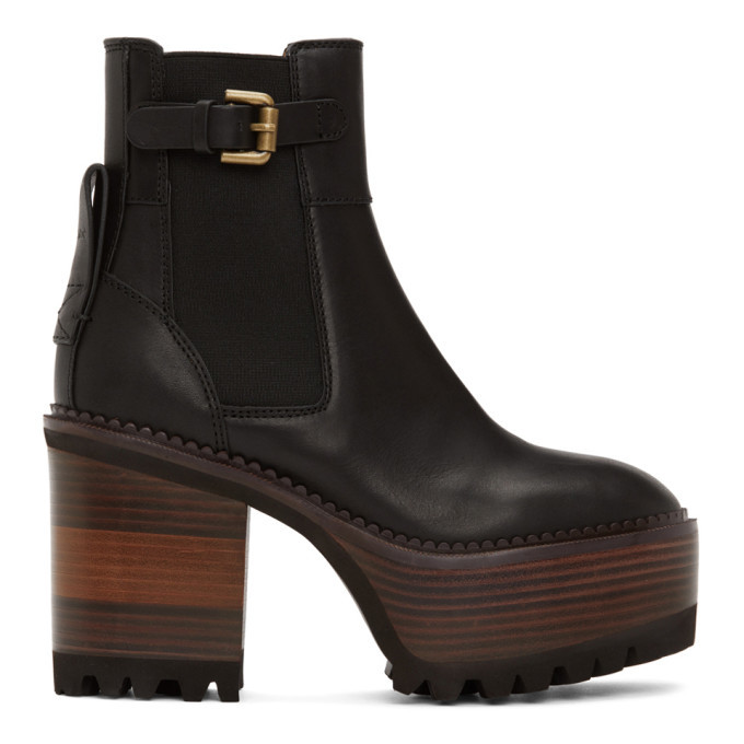 Photo: See by Chloe Black Casey Platform Boots