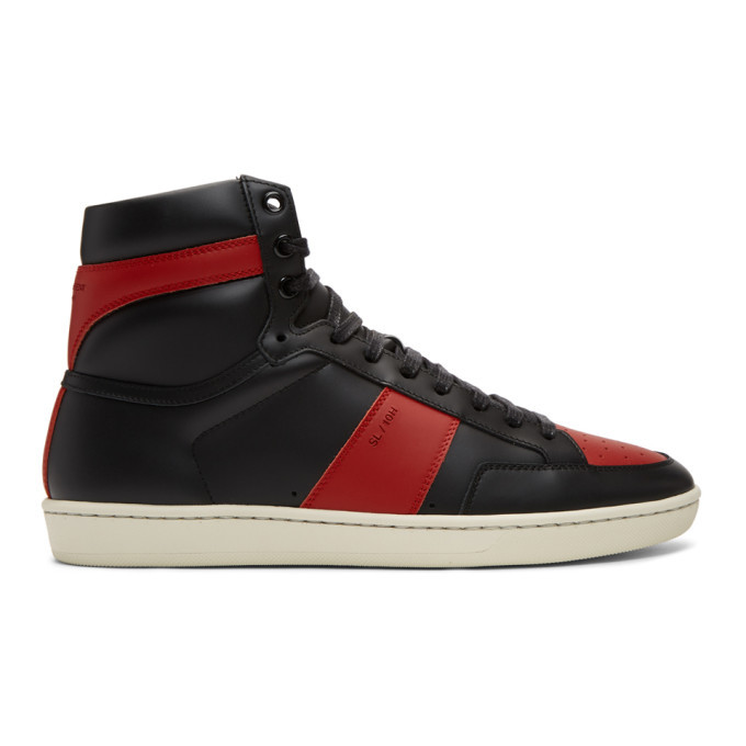 Photo: Saint Laurent Black and Red Court Classic SL/10 High-Top Sneakers