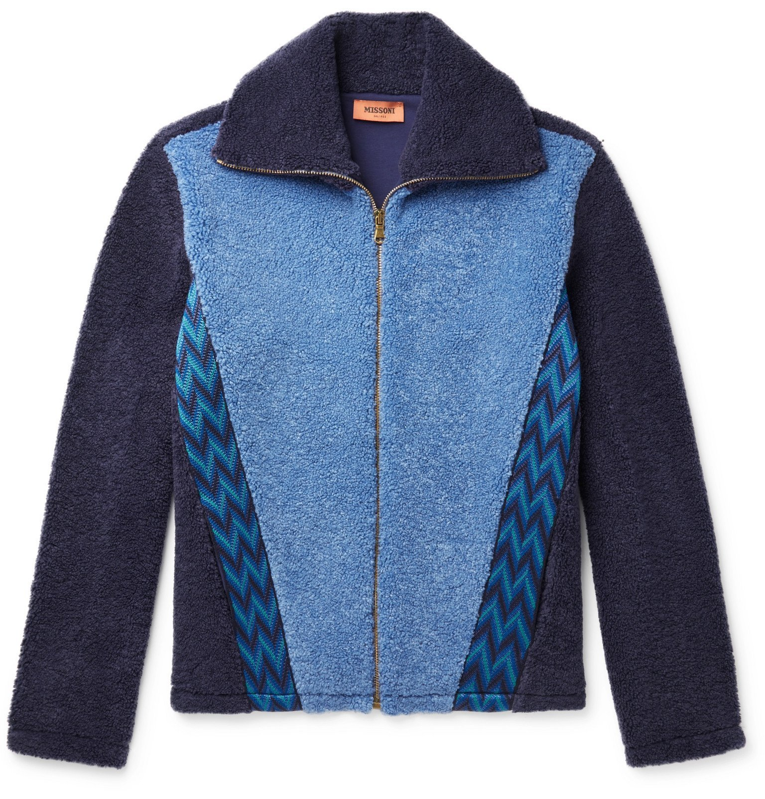 Photo: Missoni - Embroidered Colour-Block Fleece Jacket - Blue