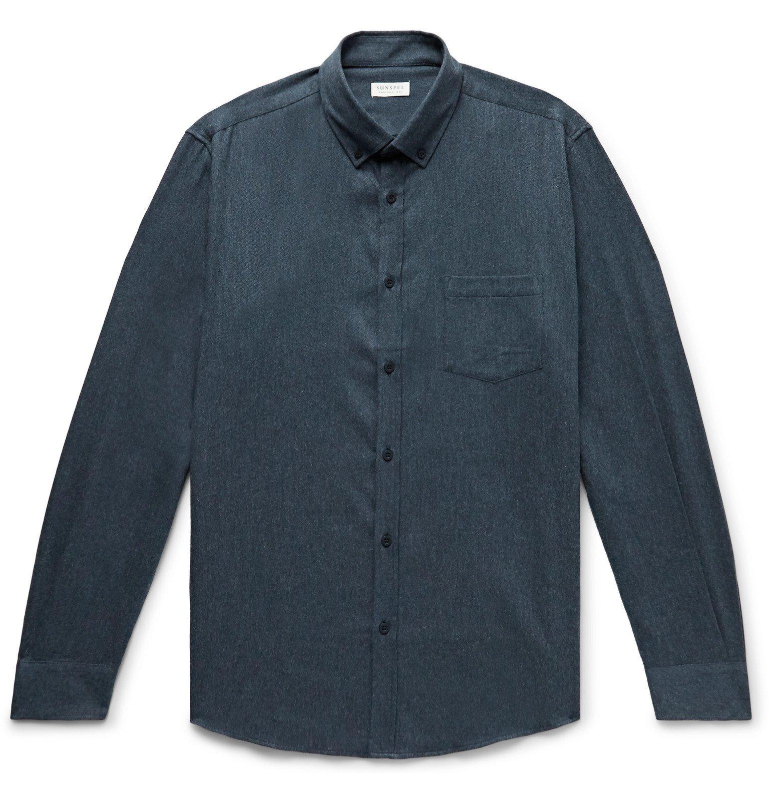 Sunspel - Button-Down Collar Brushed Cotton-Flannel Shirt - Blue