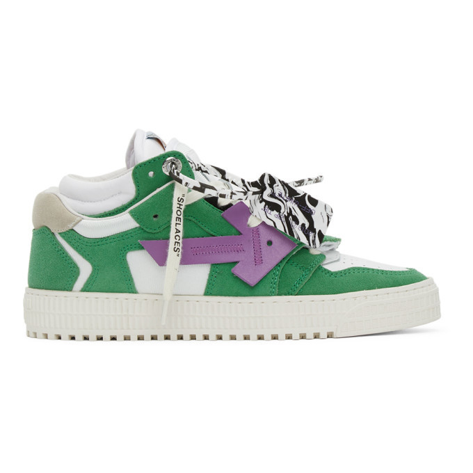 Photo: Off-White White and Green Off-Court 3.0 Low Sneakers