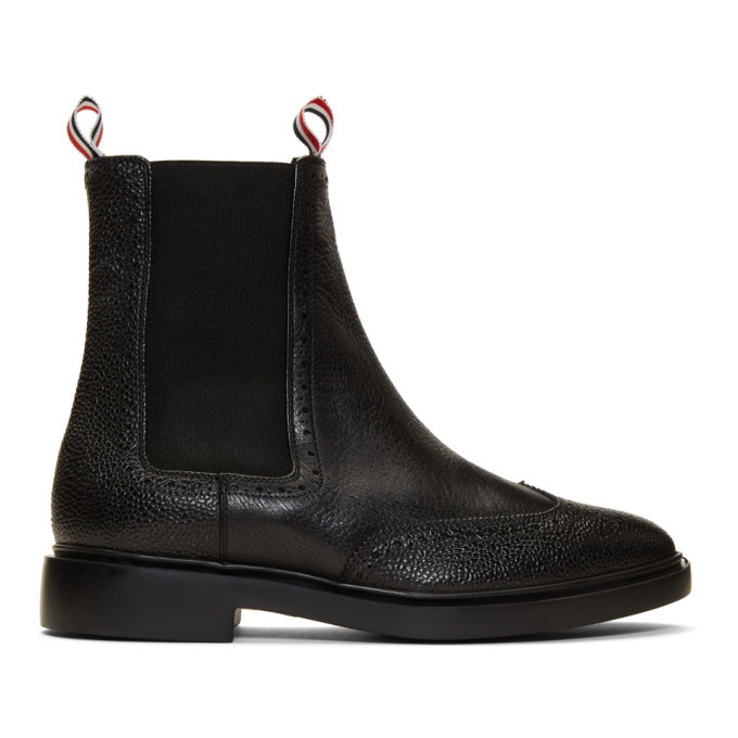 Photo: Thom Browne Black Brogued Chelsea Boots
