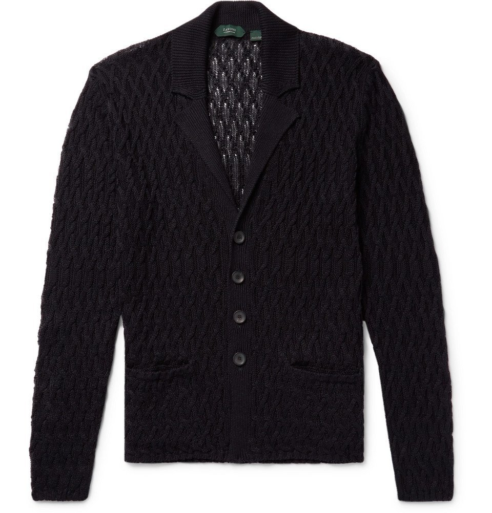 Photo: Incotex - Cable-Knit Linen and Cotton-Blend Cardigan - Midnight blue