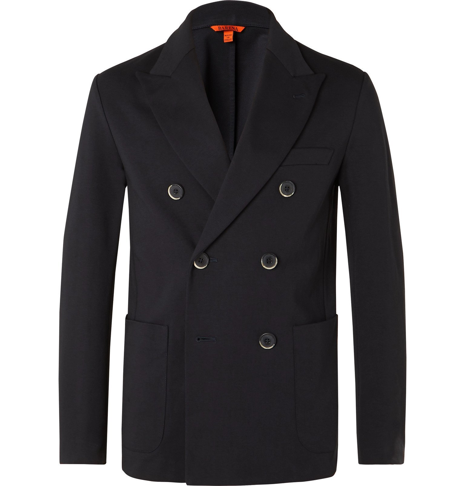 Photo: Barena - Navy Double-Breasted Cotton-Jersey Blazer - Blue
