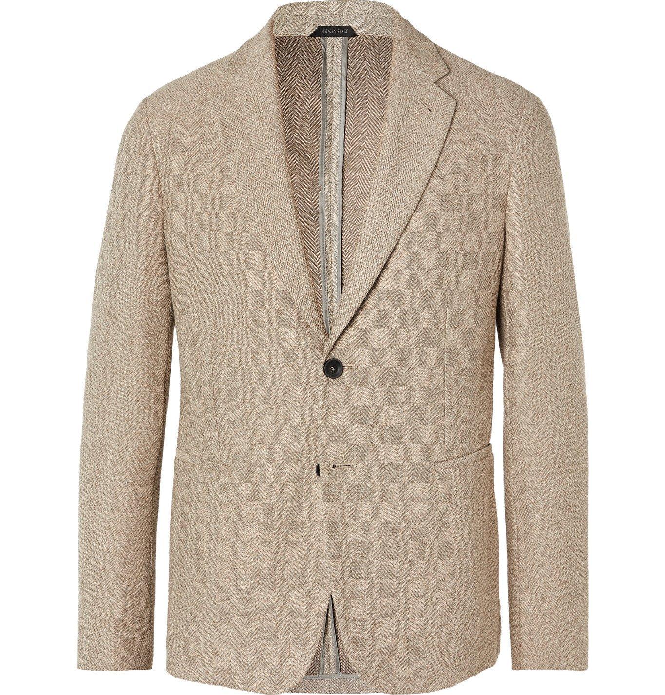 Giorgio Armani - Slim-Fit Unstructured Herringbone Cotton Blazer - Neutrals
