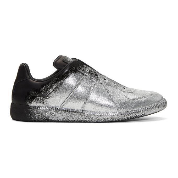 Photo: Maison Margiela Black and Silver Glitter Application Replica Sneakers