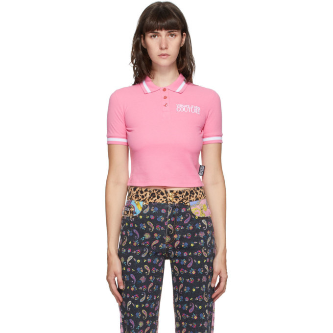 Photo: Versace Jeans Couture Pink Crop Institutional Logo Polo