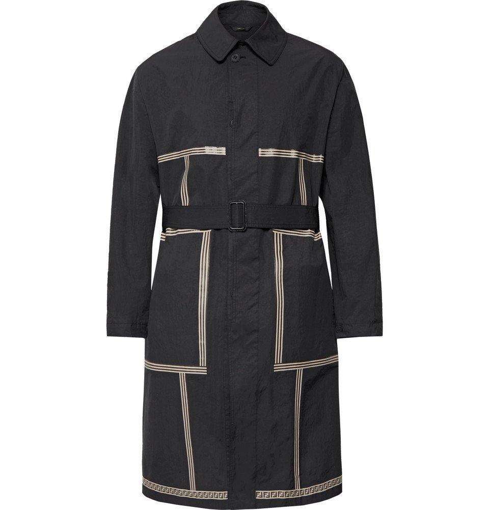 Photo: Fendi - Printed Nylon-Blend Trench Coat - Black