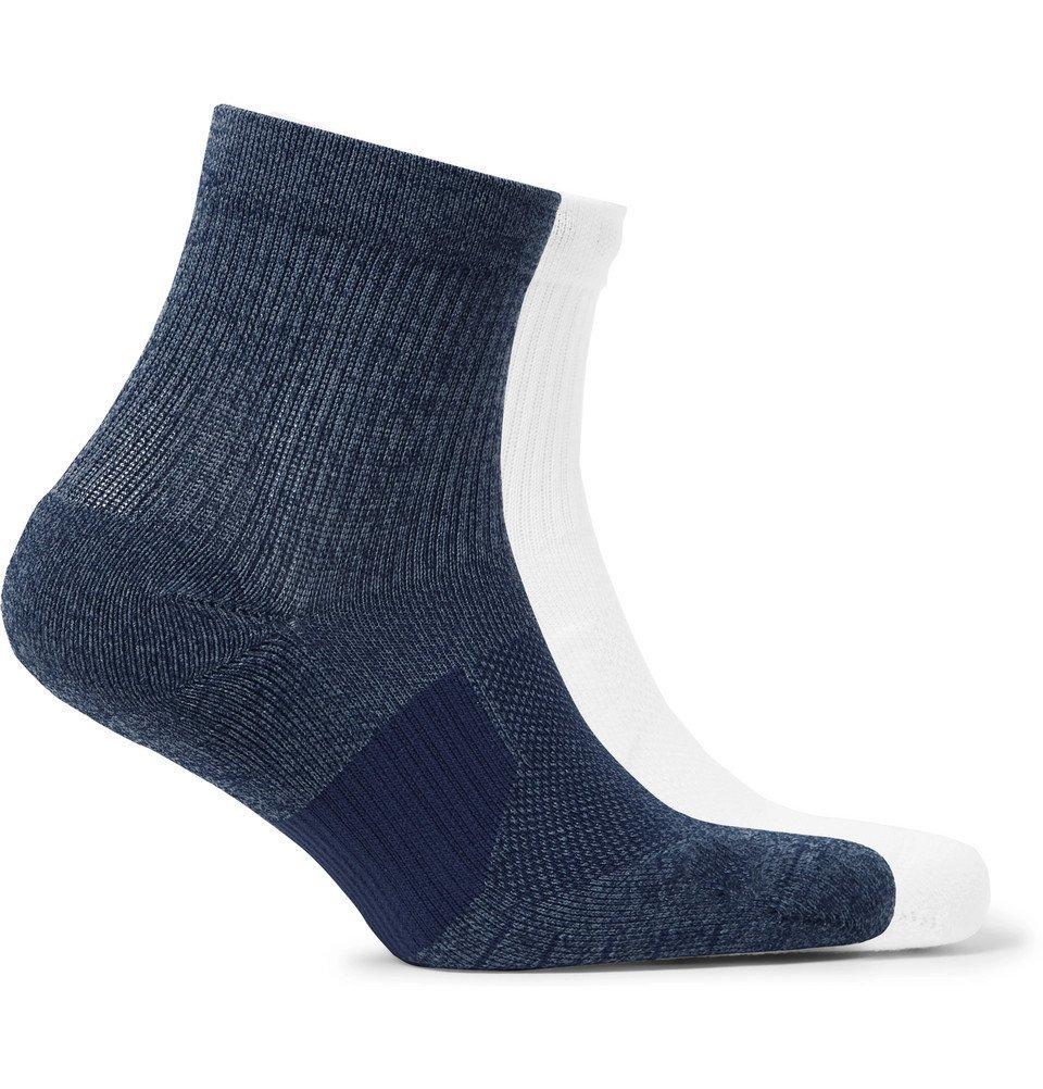 Nike Running - Two-Pack Multiplier Logo-Intarsia Dri-FIT Socks - Blue