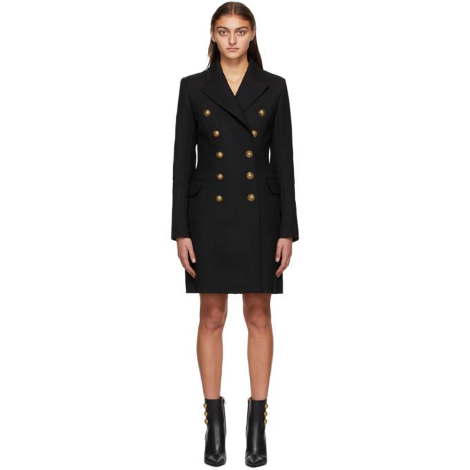 Photo: Balmain Black Wool Serge Double-Breasted Coat