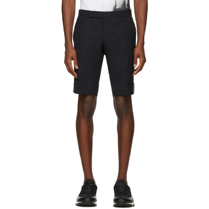 Photo: Thom Browne Navy Side Zip Low-Rise Skinny Shorts