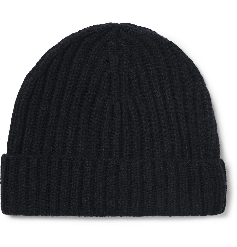 Photo: Loro Piana - Ribbed Cashmere Beanie - Midnight blue
