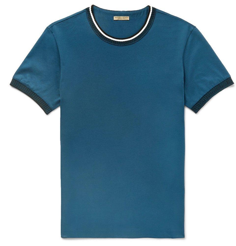 Photo: Bottega Veneta - Knit-Trimmed Cotton-Jersey T-Shirt - Men - Blue