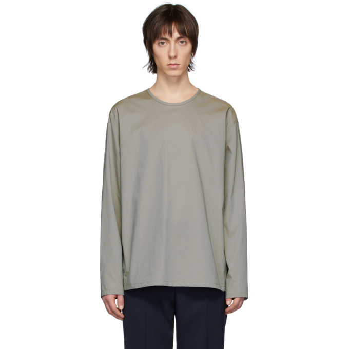 Photo: Lemaire Grey Poplin Long Sleeve T-Shirt