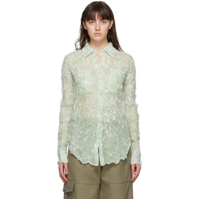 Nina Ricci Green Silk Crinkled Shirt