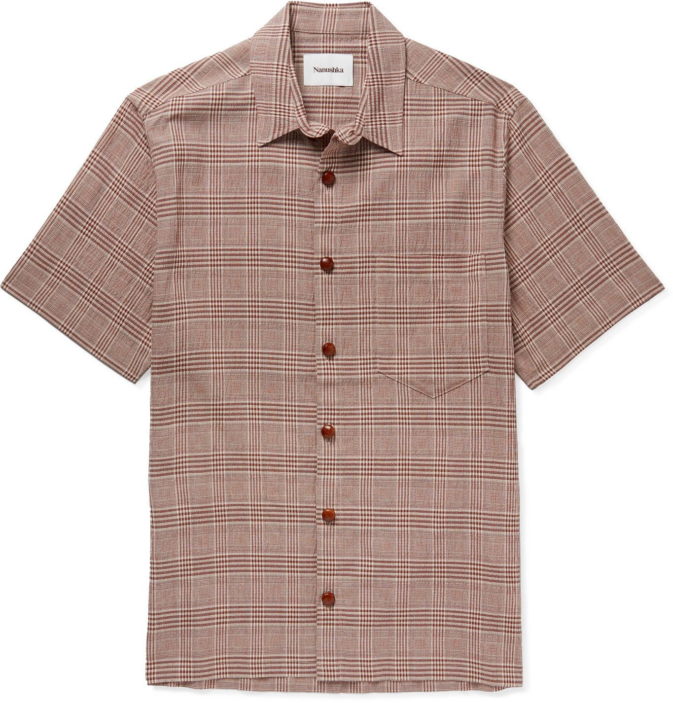 Photo: Nanushka - Adam Checked Seersucker Shirt - Brown