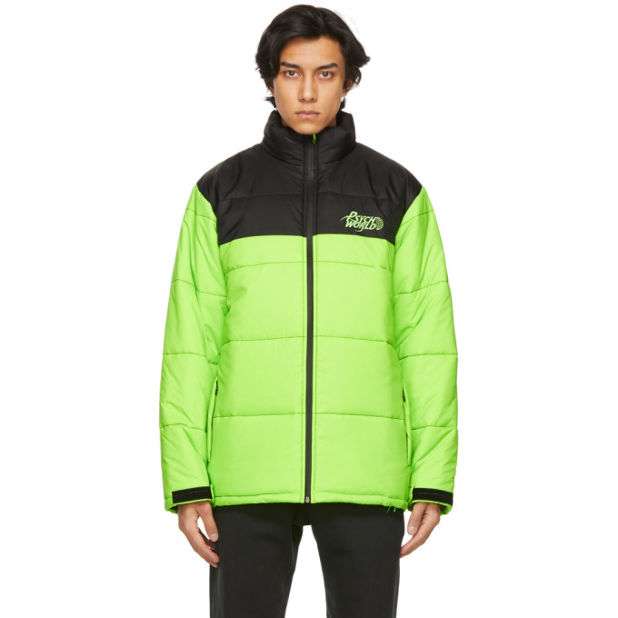 Photo: Psychworld Green and Black Logo Puffer Jacket