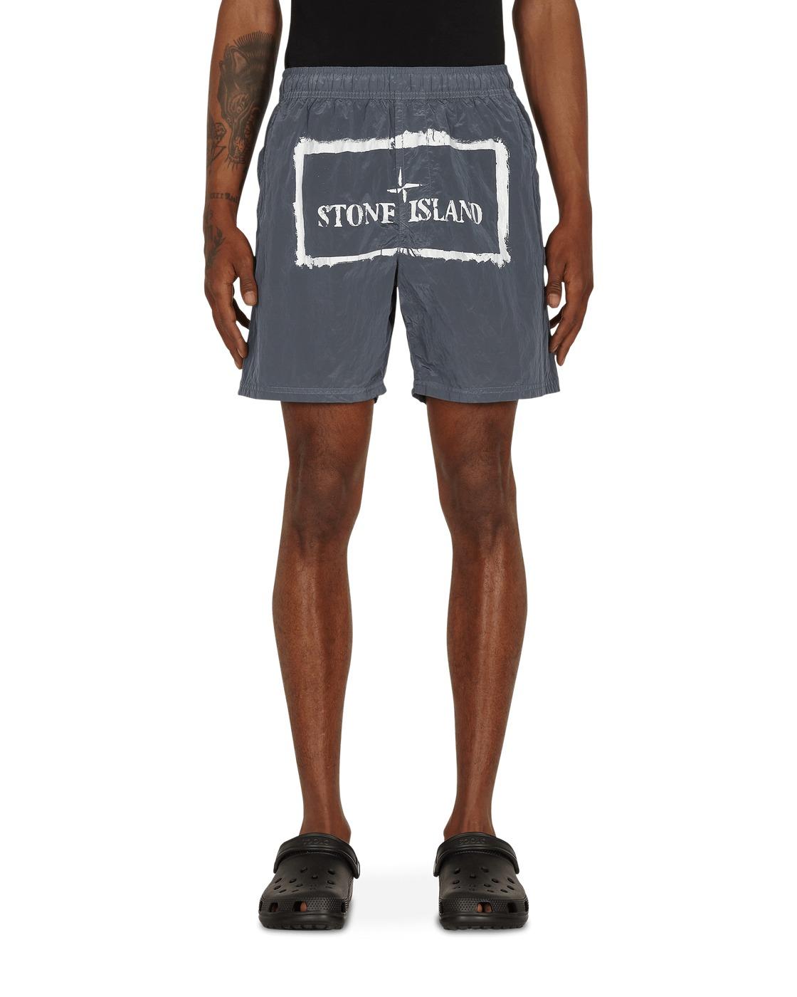 Stone Island Nylon Metal Stencil Print Swim Shorts Grey