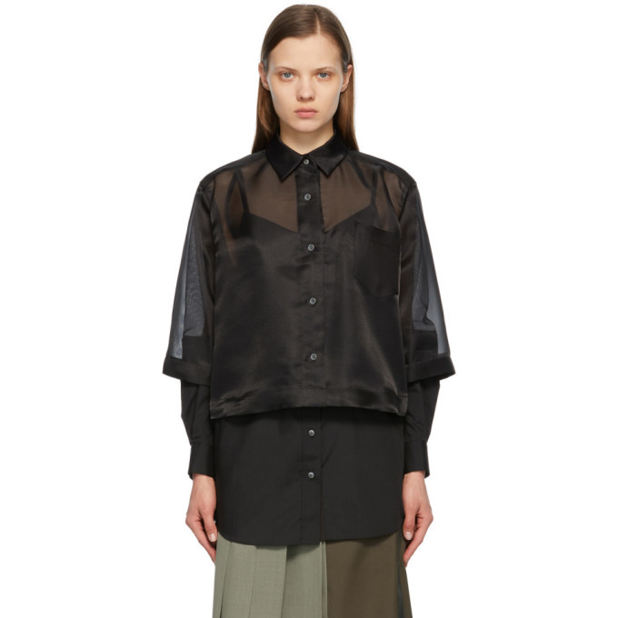 Sacai Black Organza and Poplin Shirt