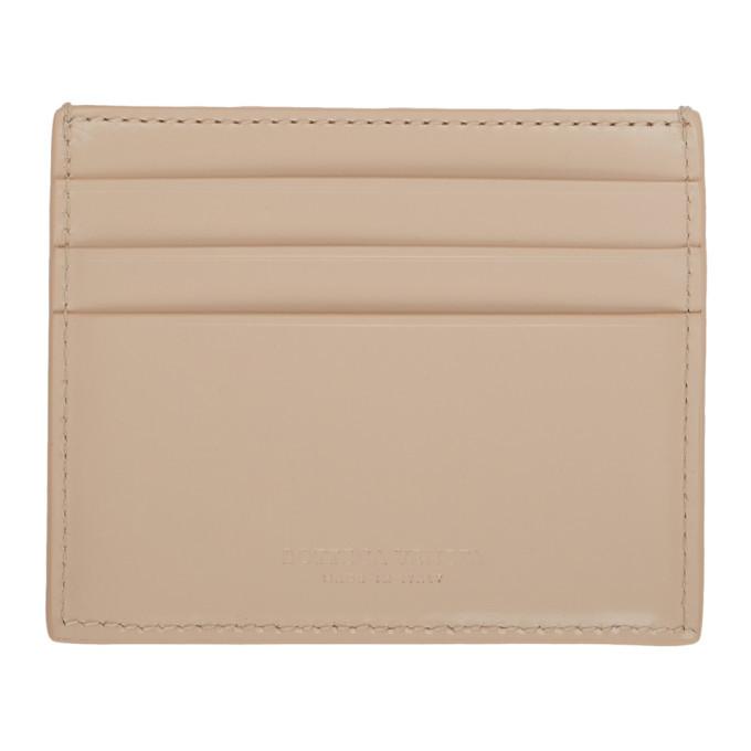 Bottega Veneta Beige Intrecciato Spazzolato Card Holder